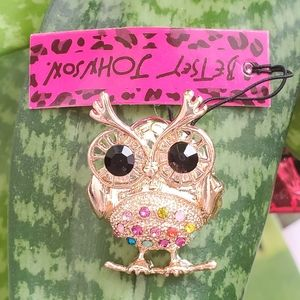 Betsey Johnson colorful gold owl pendant brooch